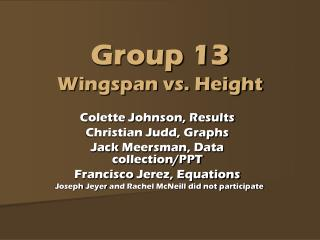 Group 13 Wingspan vs. Height