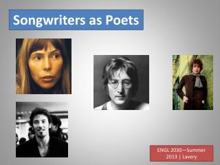 Songwriters as Poets
