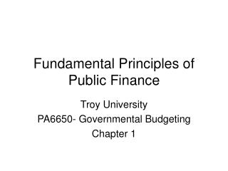 Fundamental Principles of Public Finance