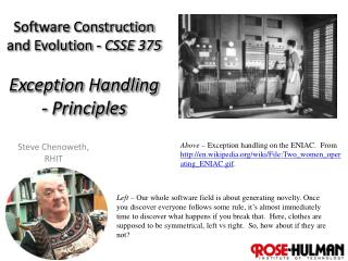 Software Construction  and Evolution -  CSSE 375 Exception Handling - Principles