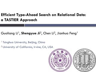Efficient Type-Ahead Search on Relational Data:  a TASTIER Approach