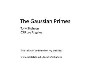 The Gaussian Primes