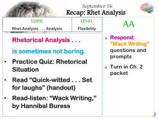 Recap: Rhet Analysis