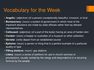 Vocabulary for the Week