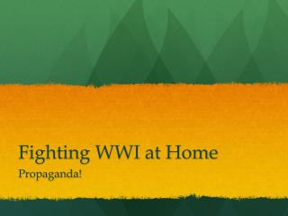 Fighting WWI at Home