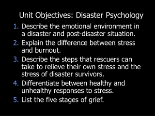 Disaster Psychology