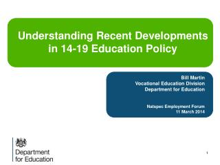 Bill Martin Vocational Education Division Department for Education Natspec  Employment Forum