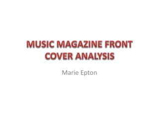 MUSIC MAGAZINE FRONT COVER ANALYSIS