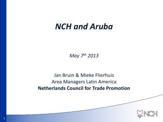 NCH and Aruba May 7 th 2013 Jan Bruin &  Mieke Flierhuis Area Managers Latin America