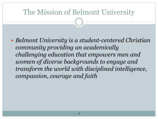 The Mission of Belmont University