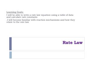 Rate Law