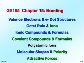 GS105  Chapter 15: Bonding