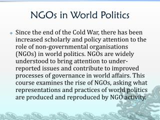 NGOs in World Politics