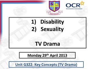 Disability Sexuality TV Drama
