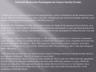Adrienne Berkowitz Participates in Cancer Society Events