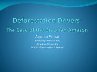Deforestation Drivers:  The Case of the Brazilian Amazon