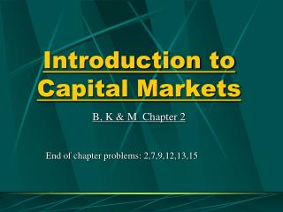 Introduction to Capital Markets