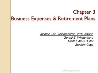 Chapter 3 Business Expenses & Retirement Plans