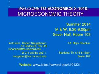 WELCOME TO ECONOMICS  S- 1010 : MICROECONOMIC THEORY