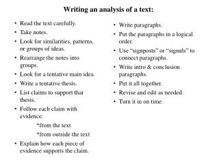 Writing an analysis of a text :