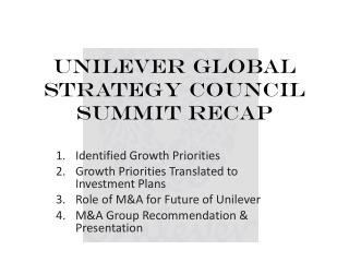 Unilever Global Strategy Council Summit Recap