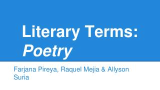 Literary Terms: Poetry