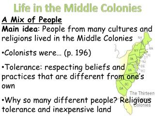 Life in the Middle Colonies