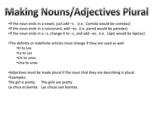 Making Nouns/Adjectives Plural