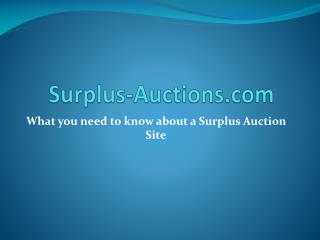 Surplus Auction Sites