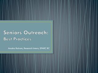 Seniors Outreach:  Best Practices