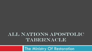 All nations apostolic tabernacle