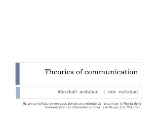 Theories  of  communication