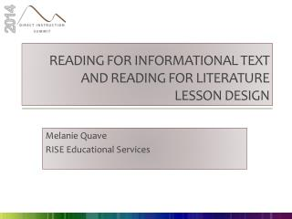 Reading for informational text and reading for literature lesson design