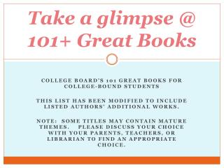 Take a glimpse @  101+  Great Books