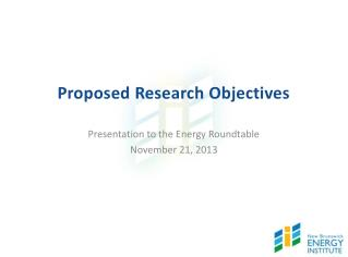 Proposed Research Objectives