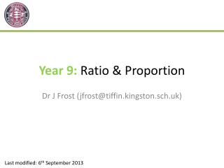 Year 9: Ratio & Proportion