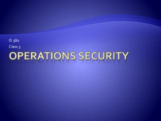 Operations Security