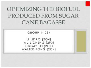 Optimizing the biofuel produced from  sugar cane Bagasse