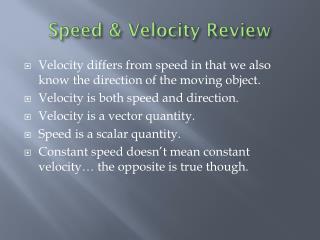 Speed & Velocity Review