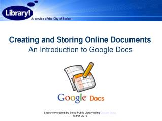 Creating and Storing Online Documents