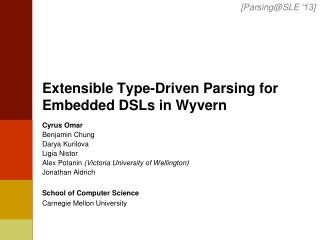Extensible Type-Driven Parsing for  Embedded  DSLs in Wyvern