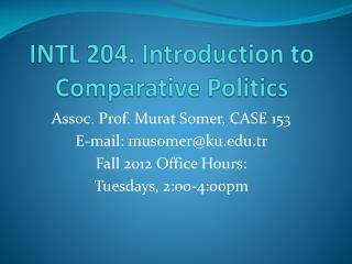 INTL 204. Introduction to Comparative Politics