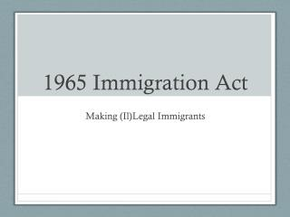 1965 Immigration Act