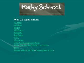Web 2.0 Applications 43 things del.icio Jotspot WikiSpaces Wikipedia Pageflakes Gliffy ChatCreator Zoho Creator (online