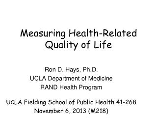 Measuring Health-Related Quality of Life