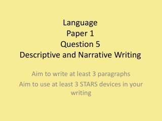 GCSE English Revision: the descriptive writing task