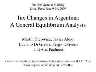 Tax Changes in Argentina: A General Equilibrium Analysis