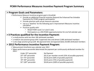 PCMH Performance Measures Incentive Payment Program Summary