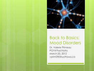 Back to Basics: Mood Disorders