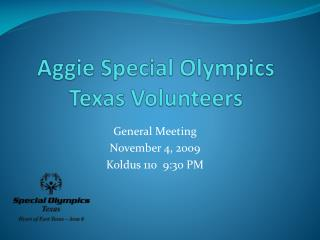 Aggie Special Olympics Texas Volunteers
